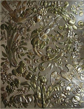 Abondance gilt leather panel, creation Lutson