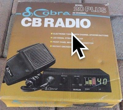 Vintage 40 Channel Cobra Model 20 Plus Citizens Band Two Way CB Radio Auto  | eBay