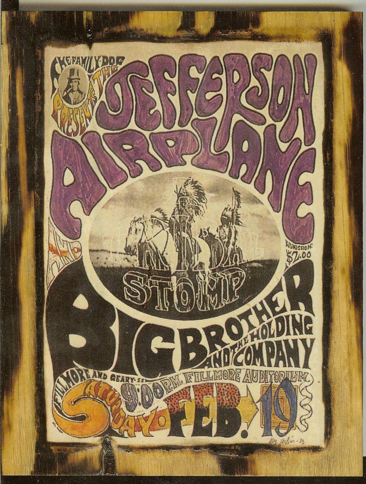 ☮ American Hippie Rock Music Art ~ Jefferson Airplane Concert Poster  1966