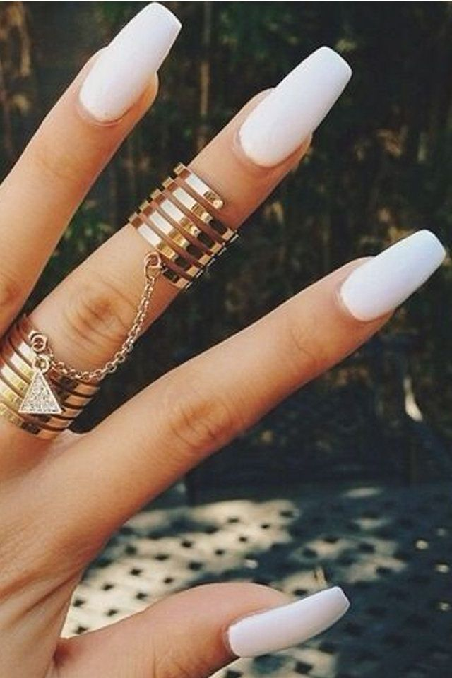 Long White Squoval Nails Coffin Shape Nails Love Nails Fake Nails
