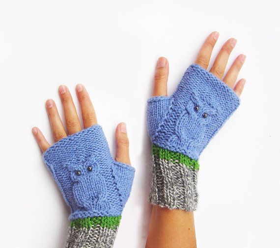 Wool Gloves. Owl Gifts. Knitted Mittens by UniqueKnitsNadamlada