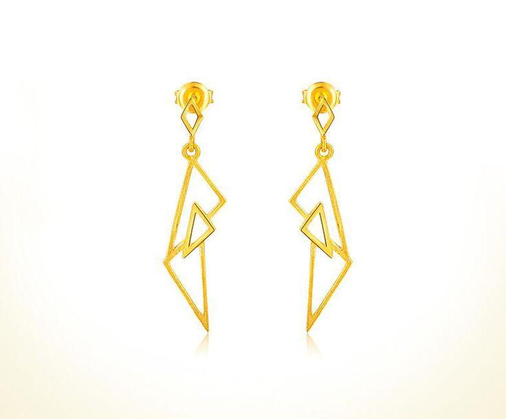 Pure Elegant 999 24K Yellow Gold Women's Triangle Dangle Earrings 3.7g