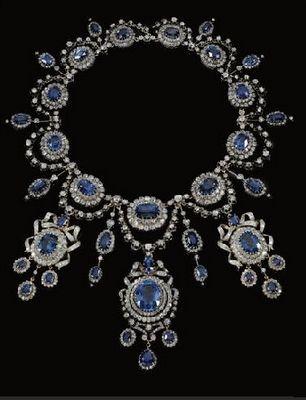 An astounding sapphire and diamond necklace by Mellerio dits Meller, circa 1870.