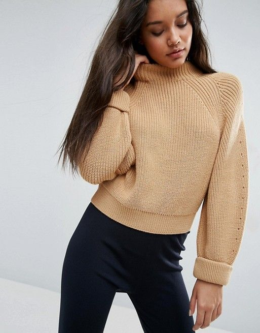 ASOS cropped beige knit jumper