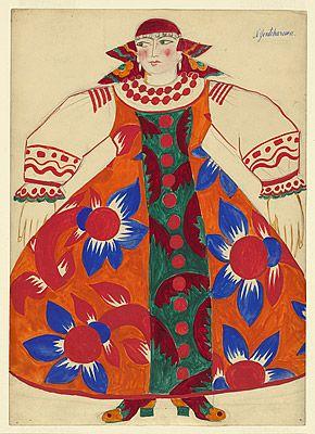 Natalia Goncharova (1881-1962) - Costume de paysanne pour Le coq d'Or 1914