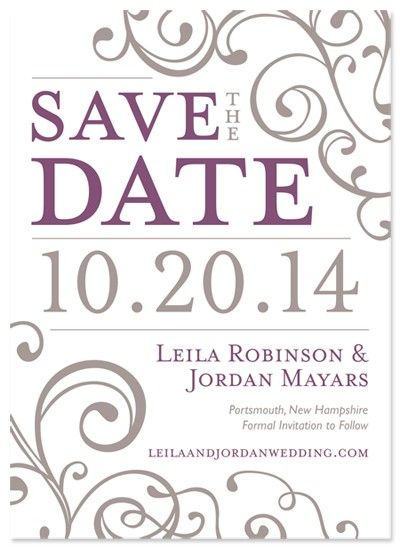 Purple and grey Save the Date!