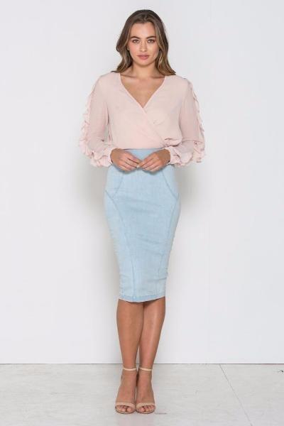 Fresh Soul - Ruffle Sleeve Top- Blush