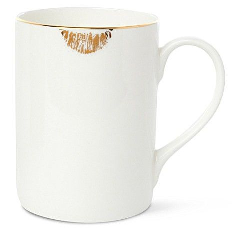 Gold Lipstick Stained Coffee Cup