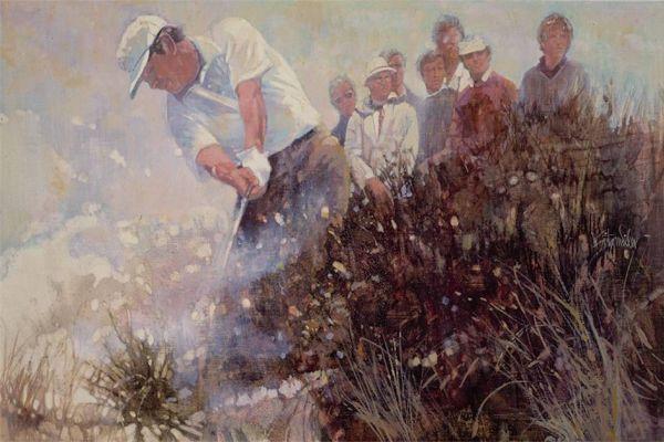 Walt Spitzmiller - Lee Trevino 100 British Open Royal Birkdale 1971 Completes Hattrick  22 x 28 Oil on canvas