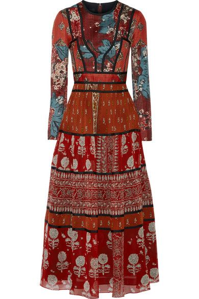 Burberry Prorsum | Paneled printed canvas and silk-georgette midi dress | NET-A-PORTER.COM