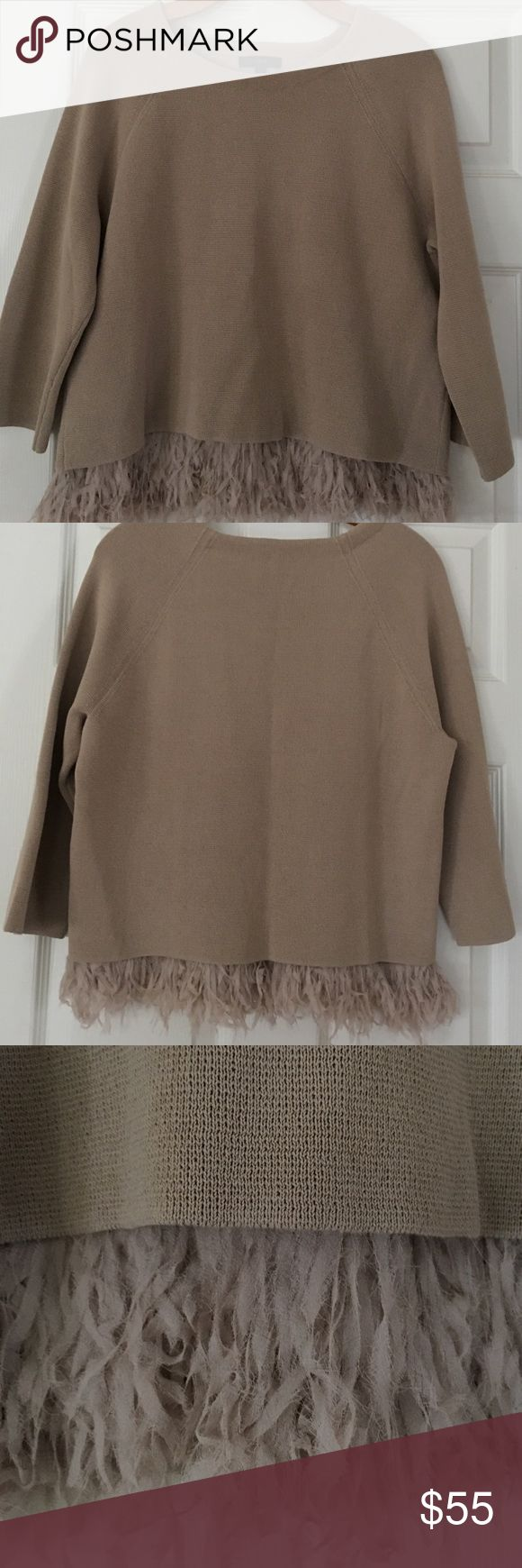 J Crew Collection Chiffon Fringe Sweater Flirty and fun! Finished with a panel of swishy, laser-cut chiffon fringe, this sweater is the definition of party! The chiffon is attached to a camisole- like layer that slips beneath the cotton outer layer. Three quarter sleeves in a taupe almond colored gorgeous piece of delight! The piece can stand alone with white or black jeans or go-for-it statement earrings with a pencil skirt. Worn once in perfect condition. J. Crew Sweaters Crew & Scoop…