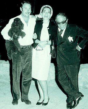 Maria Callas and Onassis in Marbella with Alfonso de Hohenlohe.
