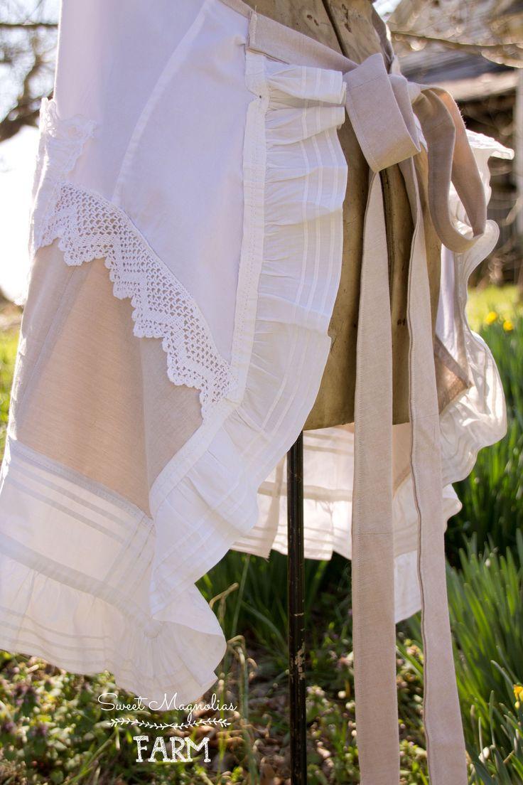 White lace apron wedding - Farmhouse Shirt Apron Vintage Lace Linen Cotton Full Ladies Apron Wedding Cover Up Penny