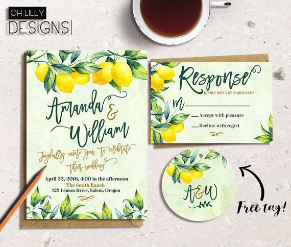 Wedding Invitation Printable, Botanical Wedding Invitation, Lemon Wedding Invitation, Spring Wedding, Summer Wedding, Digital File
