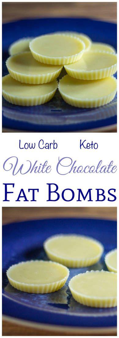 Szüksége van egy kicsit több zsírt az alacsony carb magas zsírtartalmú étrendjére?  Próbálja ki ezt a receptet fehér csokoládé zsírbombákra.  Gyors és könnyű elkészíteni 3 összetevővel.