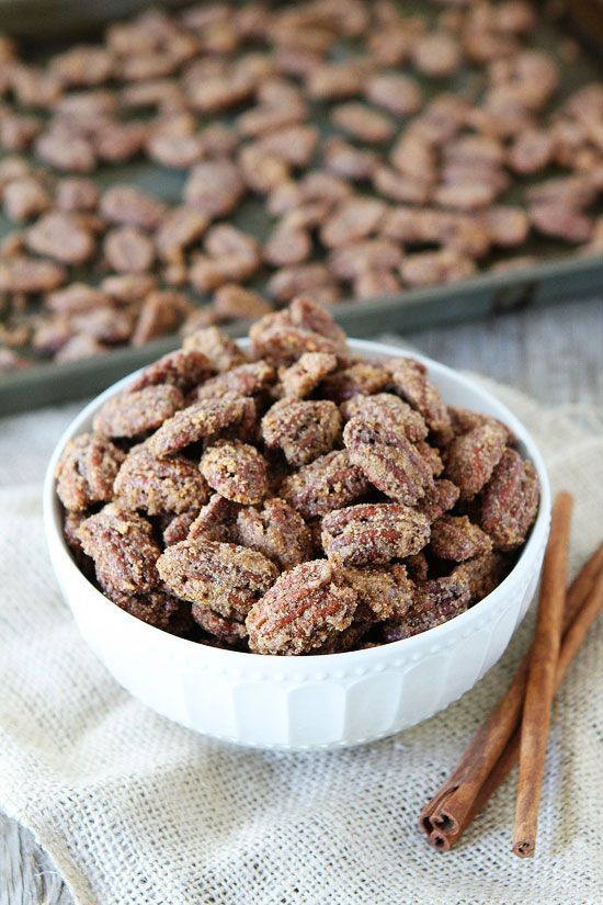 Candied Pecans Recipe on twopeasandtheirpod.com An easy recipe for Cinnamon-Sugar Candied Pecans! They are a great topping for salads, main dishes, and desserts! They make a great gift too!