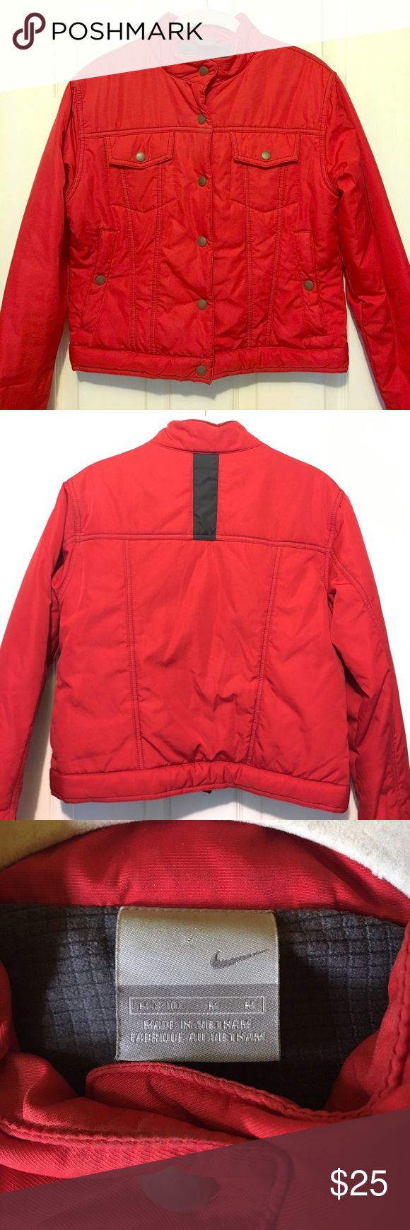 Red Nike Moto Style Button Up Jacket Thrifted this rare Nike find years ago but only wore it a handful of times since then. It's in like new condition in a beautiful bright red polyester that'll keep you warm, cozy, and stylish! Nike Jackets & Coats Puffers