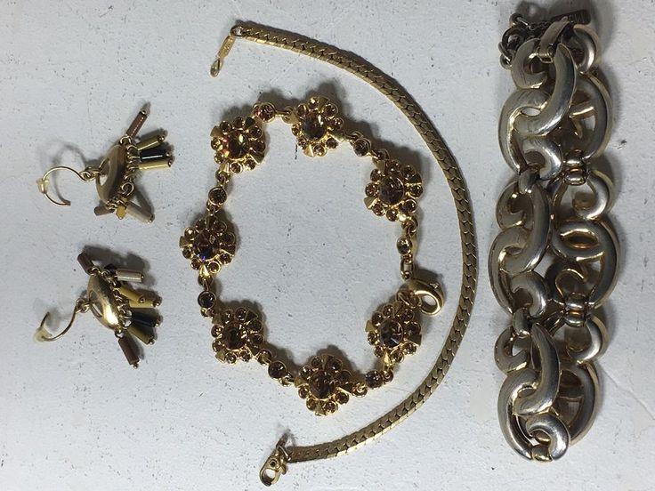 Vintage Monet Earrings Bracelets Rhinestone LOT #A46    eBay