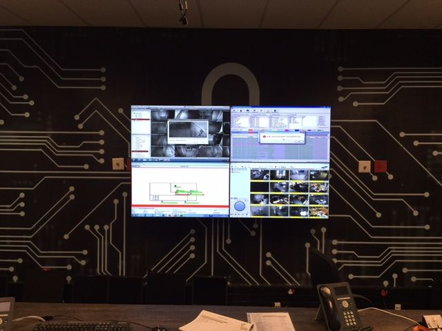 2 x 2 PVision LED Video wall connected to a PTN MMX1616 Modular Matrix Switcher and controlled via Kramer K-Touch Tablet