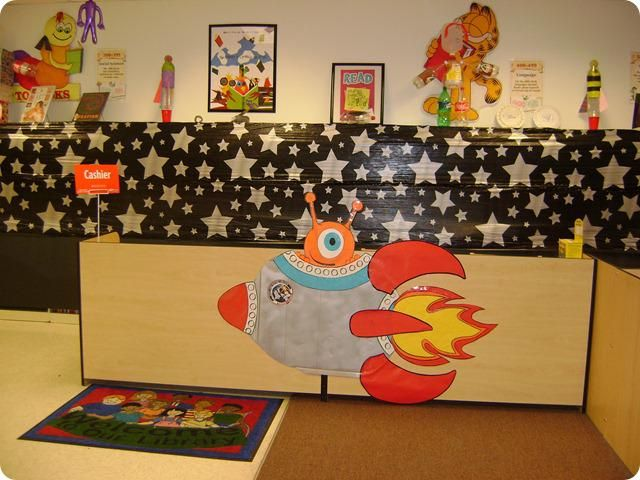 Literature Classroom Decor ~ Out of this world space themed displays idea books