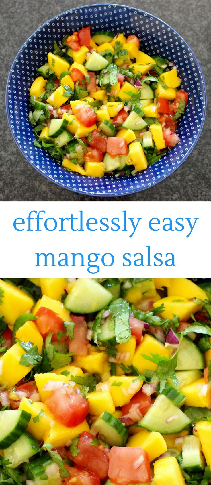 This Mango Salsa is fresh, fruity and fun, and  bursting with beautiful colours and flavours!