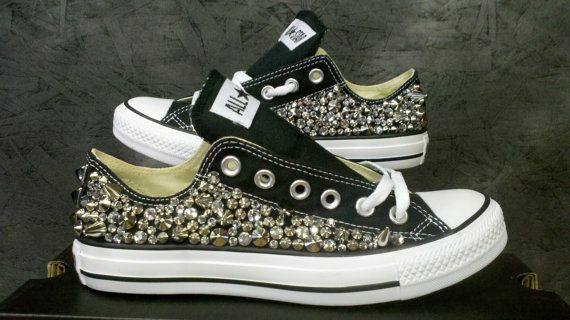 OMG OMG I wantttt! Custom Studded Converse Shoes Swarvoski & Spikes by CustomStudded, $200.00