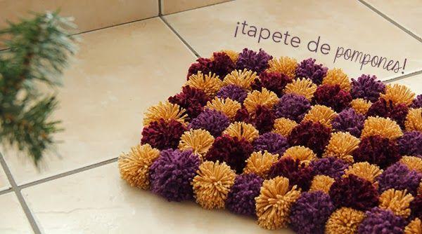 Como hacer un tapete con pompones ideas con estambre - Como hacer pompones ...