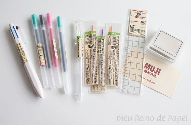 muji gel pens, multi pen and stamp