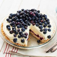 Blueberry Ice Cream Pie made with almond brown sugar crust. Could easily make this Gluten Free by modifying a few ingredients.