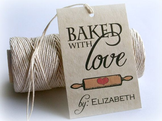 Baked With Love Printable Gift Tags DIY Baking by EventPrintables, $12.00