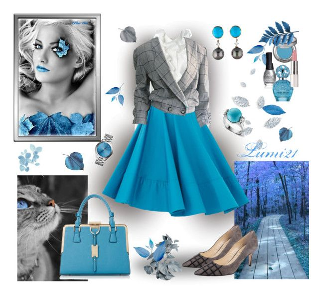 blue autumn by lumi-21 on Polyvore featuring Krizia, Butter Shoes, Slane, Urban Decay, Marc Jacobs, ORLY and Frankie Morello