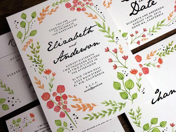 Hochzeit Einladung Zum Ausdrucken   Wasser Farbe Blumen   Hochzeit Ausdrucke    Laden   RSVP