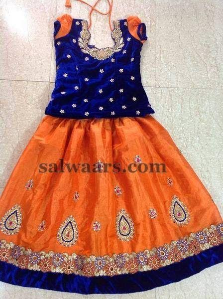 Zardosi Work Skirt Velvet Blouse   Indian Dresses