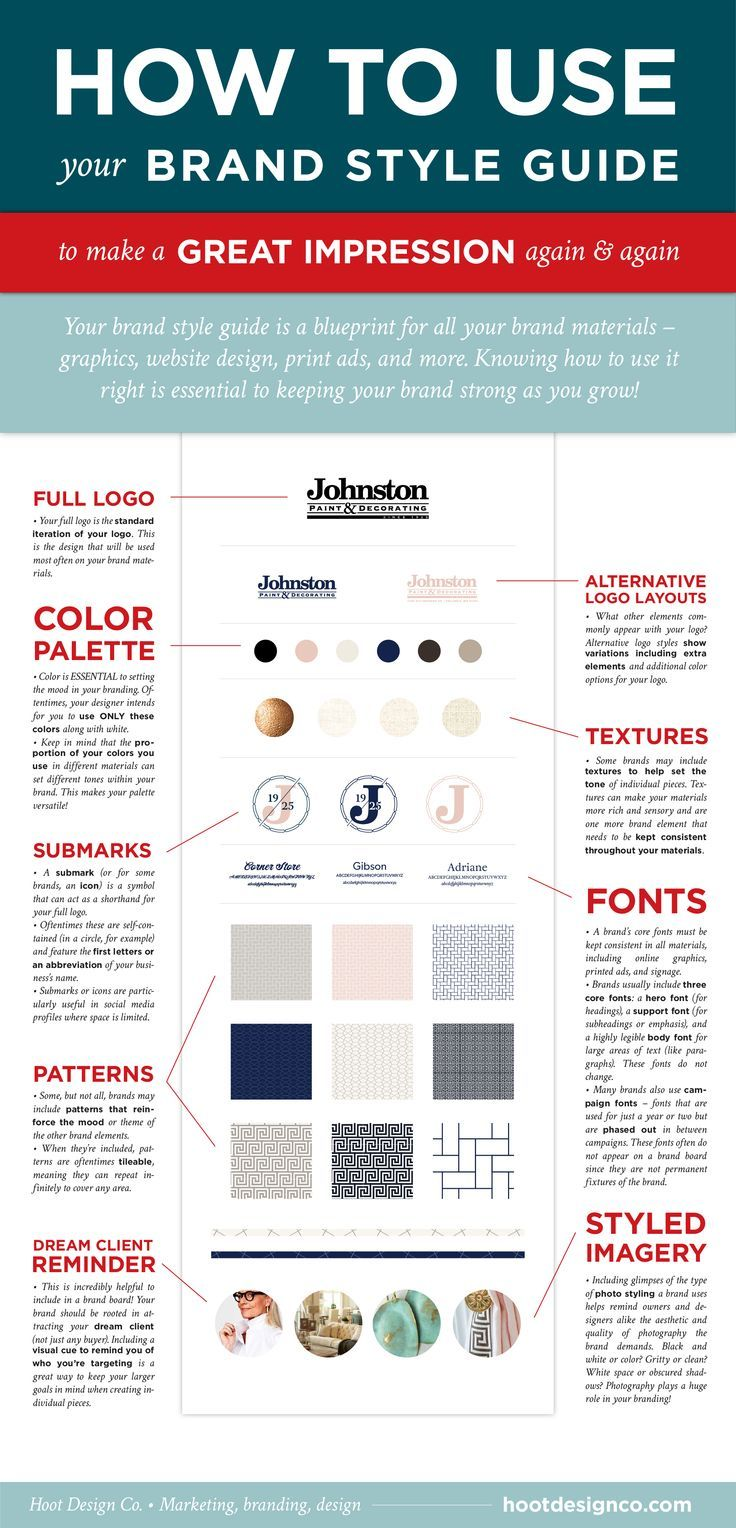 After creating a brand board, you need to use it correctly to keep your brand intact. Brand style guides are like blueprints showing you how to use your brand elements, like fonts, colors, logo variations, icons, patterns, and image styles. Here's how to use your brand board effectively to make a great impression again and again! Click through to save or read more | Hoot Design Co.