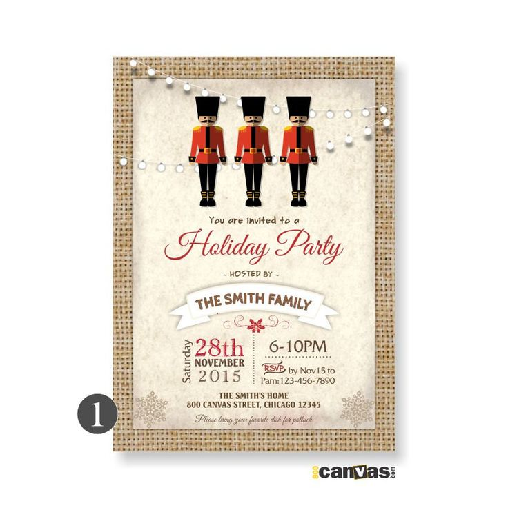 Nutcracker Christmas Party Invitation. Holiday Printable. Nutcracker Holiday Open House, Office Christmas Party, Nutcracker Invitations 44 by 800Canvas on Etsy