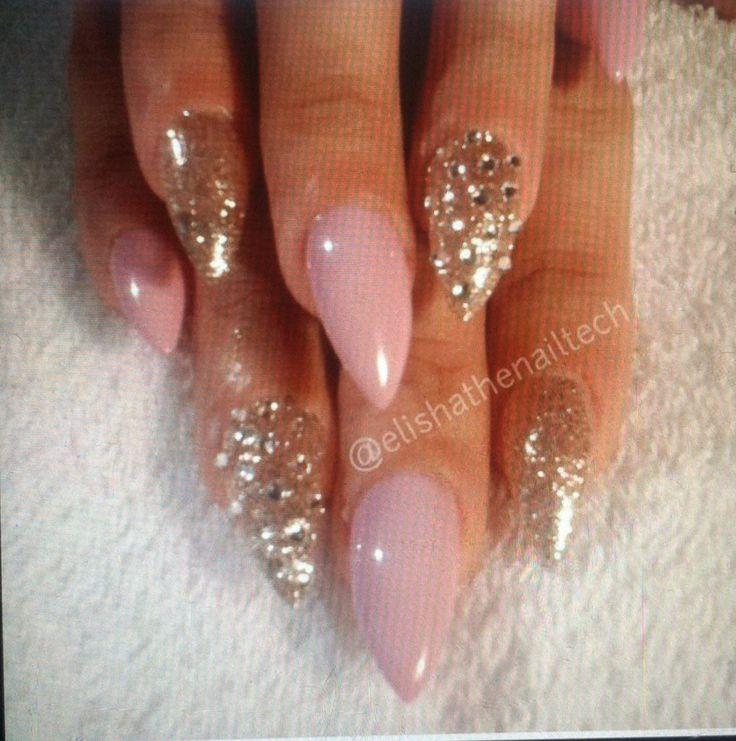 Pink and gold stiletto nails