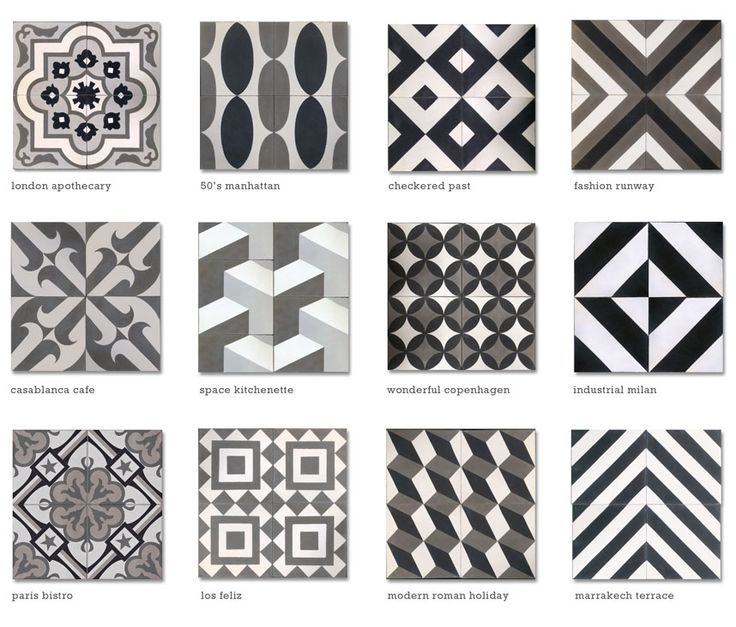 moroccan tile encaustic cement tile black white grey cletile.com -- cool tile resource