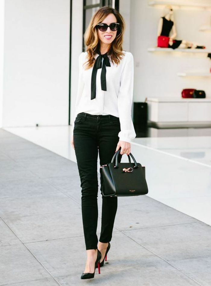 Awesome change of dress style young woman classic white shirt holding