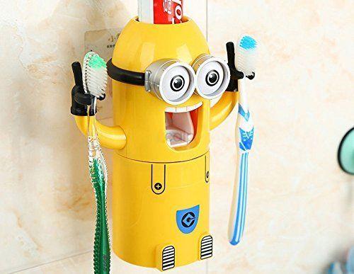 """Zahnputzbecher und Zahnpastaspender - ganz im Minion-Stil -- lzy-store """"Two Eyes Minion Design Waschtisch Set Zahnputzbecher, automatischer Zahnpastaspender Becher (mit Bürste gelb (2) Augen), plastik, gelb, 2 Eyes"""