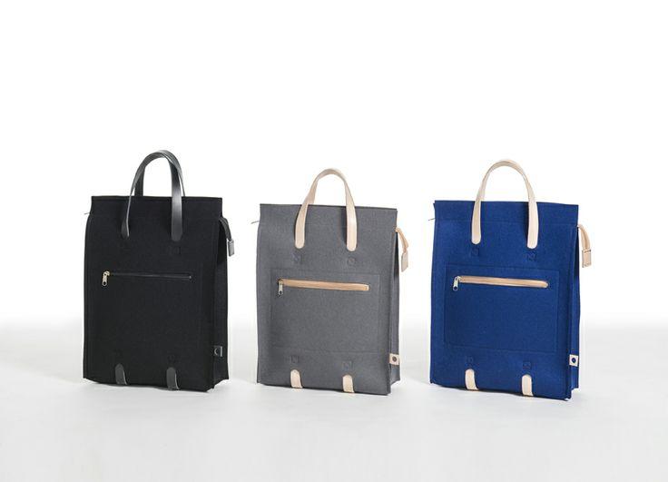 Jonas Hakaniemi for Lahtiset, JHFL 02, http://www.lahtiset.fi/fi/jhfl/jonas-hakaniemi-for-lahtiset.html #jonashakaniemi #lahtiset #felt #leather #bag #black #grey #blue
