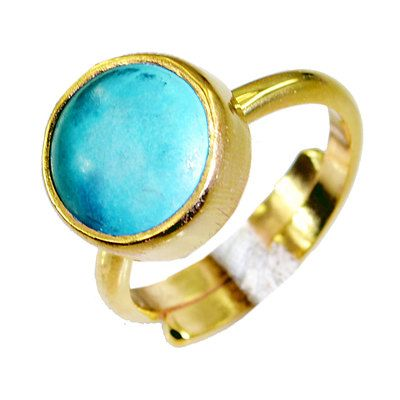 Riyo Turquoise 18k Y.G. Plated Ecclesiastical Ring Sz 6.5 Gprtur6.5 82042 Rings on Shimply.com