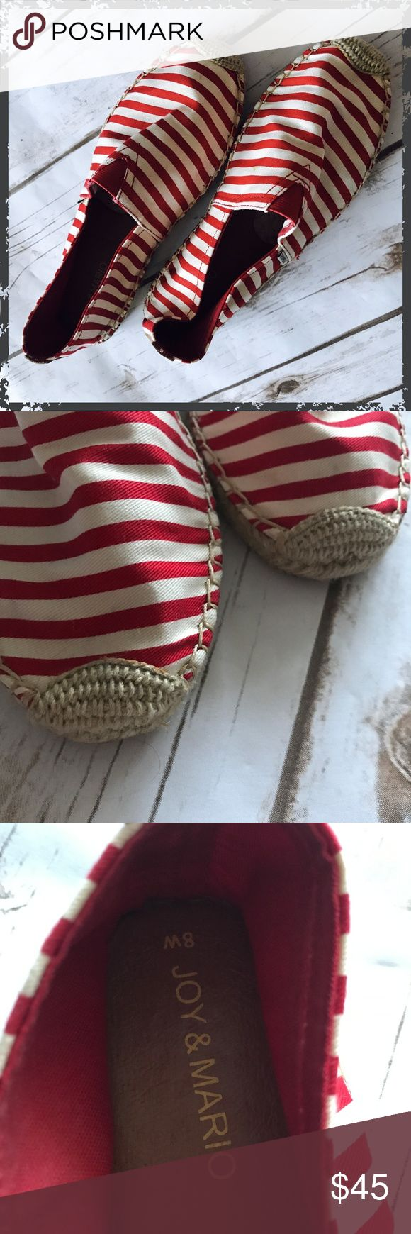 Joy & Mario Red White Striped Flat Espadrilles Size 8 Women's (not wide) Never worn, has a tiny yellowing spot on the top of one foot (see photo) Very comfortable! **Please read first 2 comments** Joy & Mario Shoes Espadrilles