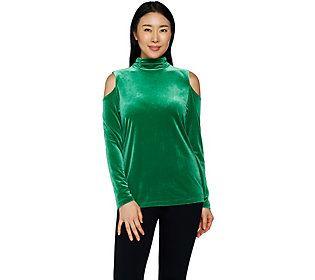 Susan Graver Stretch Velvet Mock Neck Cold Shoulder Top