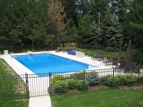 Rectangular Pool Landscape Designs landscaping ideas for inground swimming pools | pool design & pool