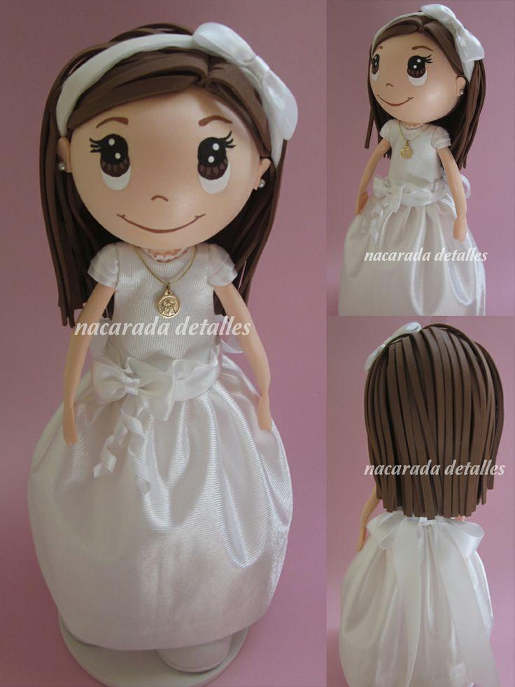 muñeca personalizada de comunión-nacarada detalles