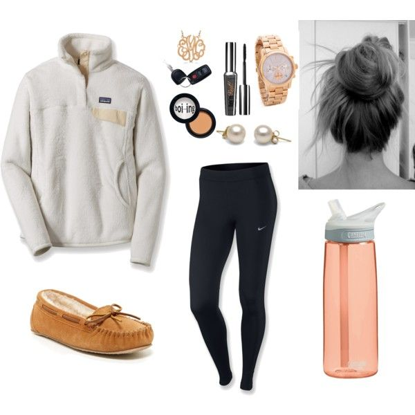 Finals Week Outfit Idea! by anne-pfaff on Polyvore featuring Patagonia, NIKE, Minnetonka, Michael Kors, Allurez, Benefit and CamelBak