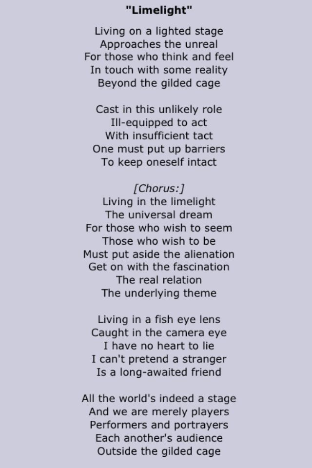 Rush - Limelight Lyrics