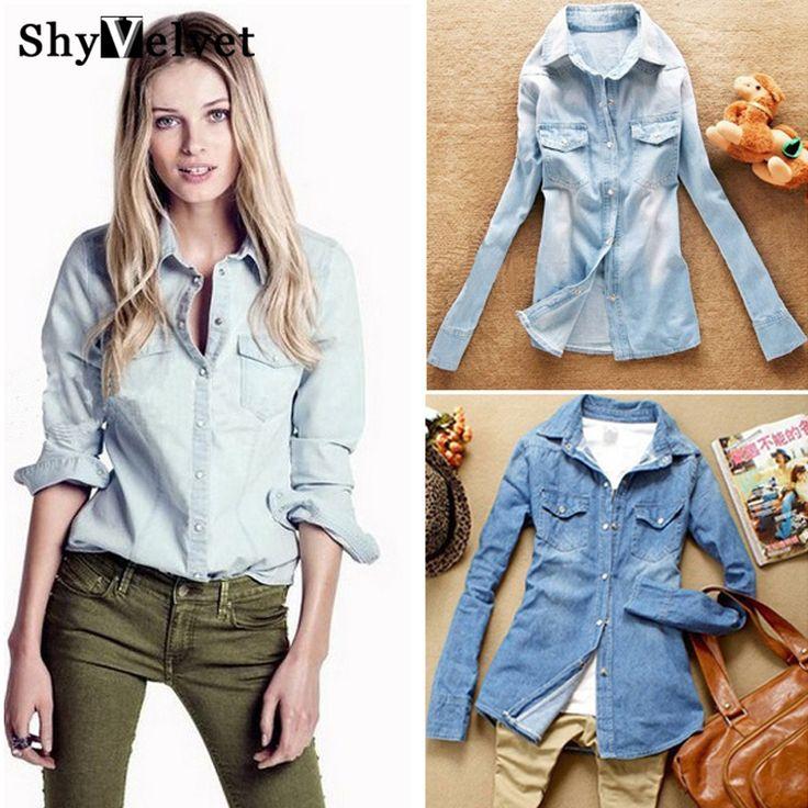 Горячая продажа женщин Европейский стиль джинсовой блуза тонкие джинсы рубашка женская элегантный качества блузку 2016 весенняя мода джинсовая блузка купить на AliExpress