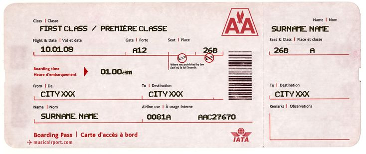 Generate your FAKE First Class Airline Ticket Travel Themed - plane ticket template