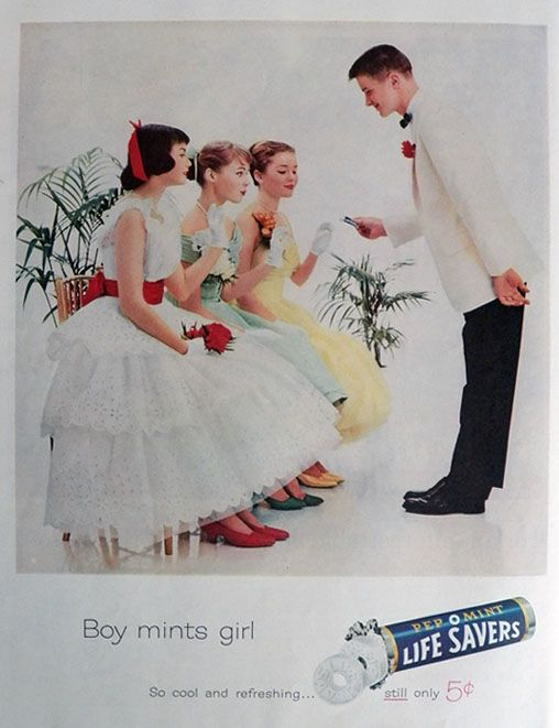1961 Lifesavers Candy Ad ~ Boy Mints Girl